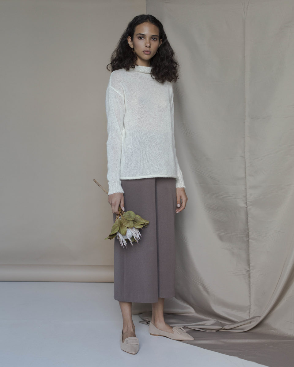 Turtleneck Top in Milky White