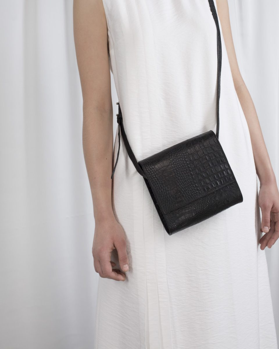 Black bag with crocodile texture