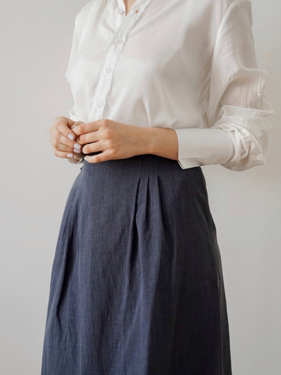 The skirt is gray blue